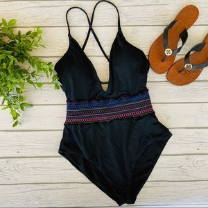 Bar III Smocked Plunging One-Piece Swimsuit